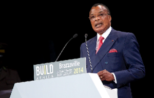Congolese President N'Guesso speaks at the opening program