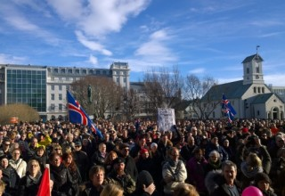 From yesterday's protest. Photo: Páll Stefánsson.