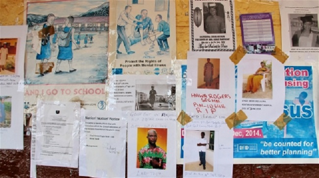 Memorial notes posted for Kenema hospital nurses who died in the Ebola fight