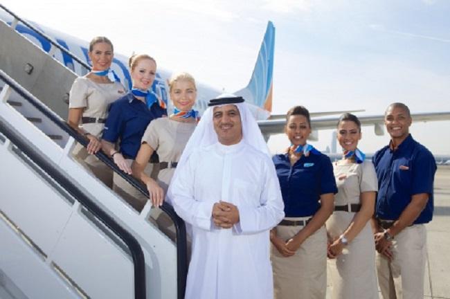 Ghaith Al Ghaith, Chief Executive Officer of flydubai, with cabin crew