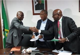 L -R: Mr. Suleiman Shuaibu, Acting D-G of the Directorate of Technical Cooperation in Africa (DTCA); Mr. Ousmane Dore, Resident Representative, African Development Bank Group, Nigeria country office; and Mr Roberts Orya, MD/CEO Nigerian Export-Import at the signing of Nigerian Technical Cooperation Fund (NTCF) financial grant of US$302,000 to NEXIM Bank for the Sealink Project at the AfDB Offices in Abuja, February 26, 2015.