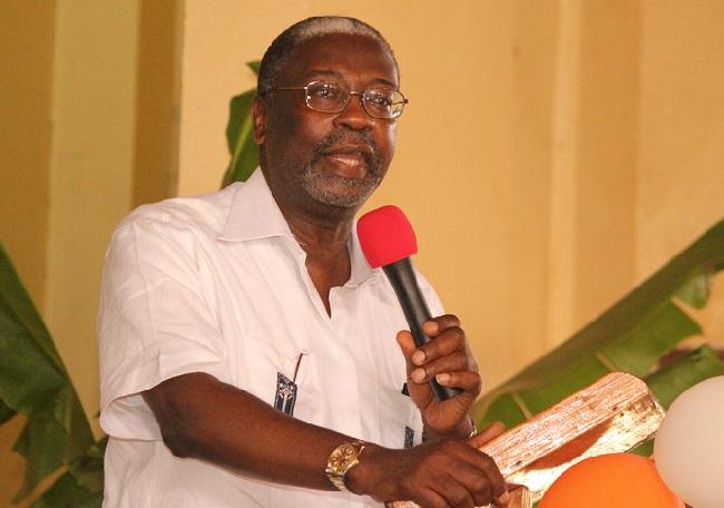 Liberia's Central Bank Governor Jones speaks at the program