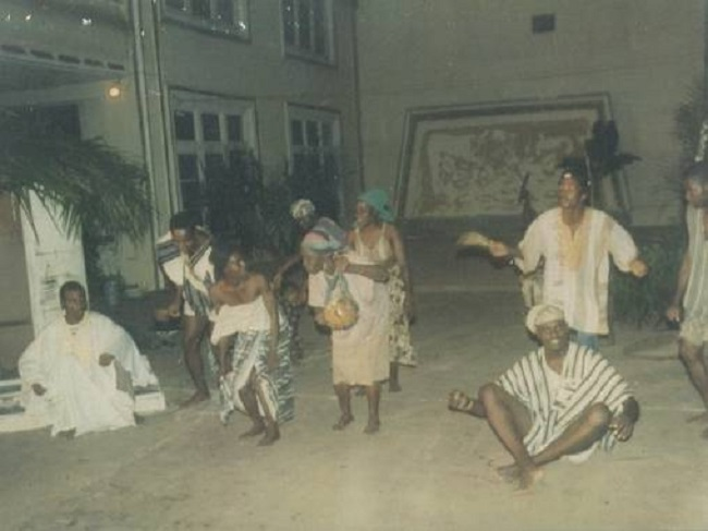 """Above is a scene from Joe Gbaba's """"The Minstrel's Tales"""" performed by Dehkontee Artists Theatre at the Centennial Memorial Pavilion in 1992. Promoting cultural awareness is very crucial to maintaining stability, national unity, and sustainable peace, rehabilitation and reconciliation in a post war society. We believe that with the requisite financial, material, and moral supports in place we can do an excellent job of once again reuniting our people and creating national consciousness through the promotion of our national hegemony via the performing arts--through drama, music, dance, etc."""