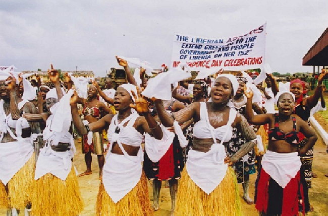 Remnants of Liberian National Cultural Troupe performed at a July 26th Independence Day ceremony in 1997. Photo James Fasuekoi