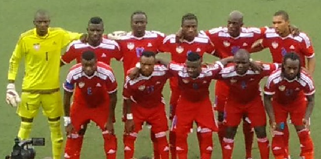 The victorious Liberian national football team