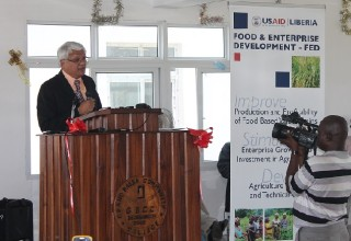 USAID Mission Director Anthony Chan delivers remarks during the inauguration of the science lab at Grand Bassa Community College