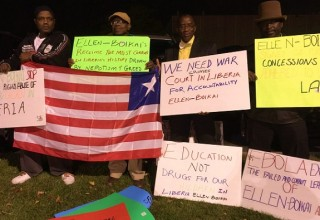 Some protesters at the VP's dinner in Fridley, Minn. Picture:  James Fasuekoi