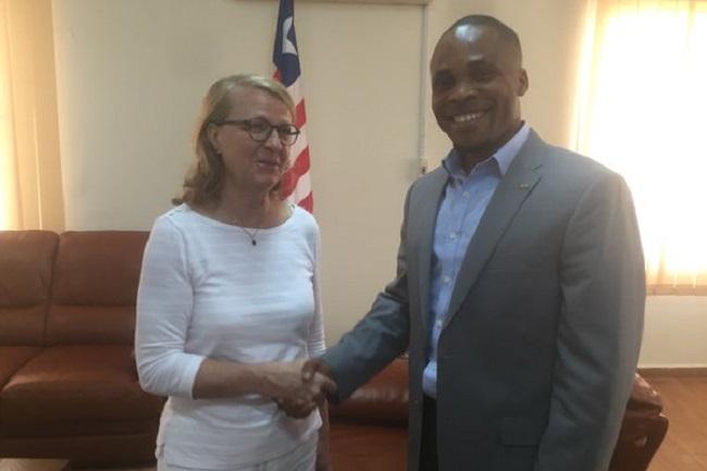 Swedish Ambassador Lena Nordstrom (left) and Liberian Public Works Minister Gyude Moore