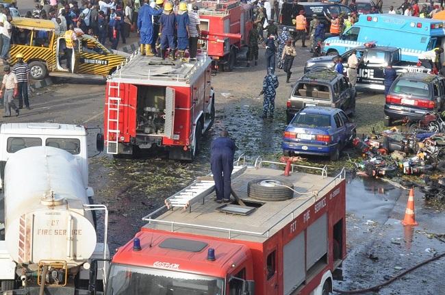 The scene of a suicide bomb attack