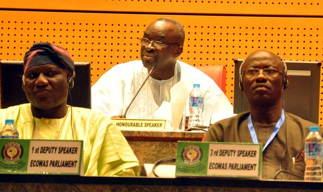 From Left: 1st Deputy Speaker, Yusuf Lasun of Nigeria; Speaker Moustapha Cisse Lo of Senegal & 3rd Deputy Speaker, Jefferson Karmoh of Liberia