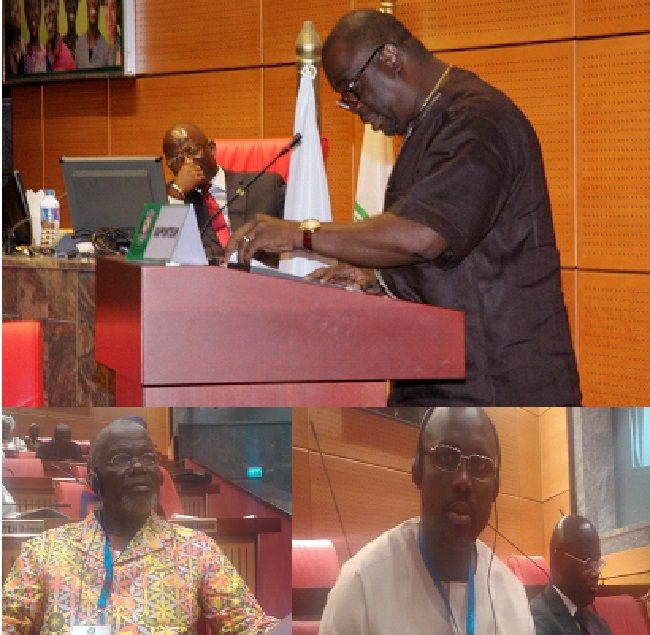 Pic caption: Above, Rep. Snowe reads the report as Rep. Karmoh presides (seated); Below (right to left), Senators Weah & Johnson listen during the session