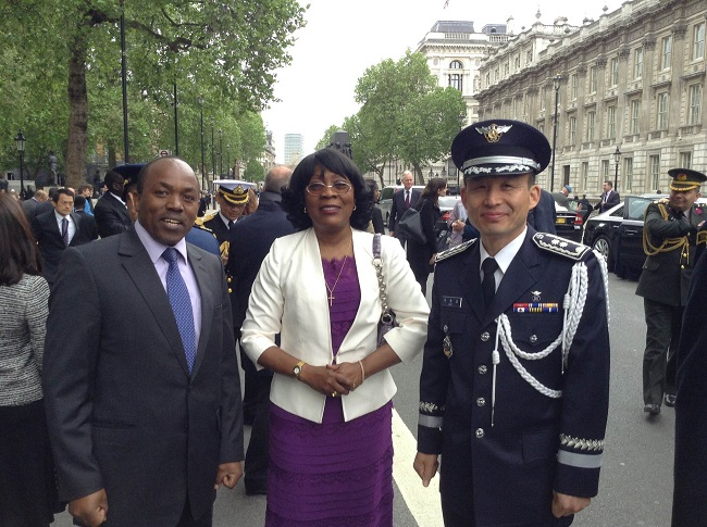 Charges d' Affaires Genevieve A. Kennedy with other dignitaries at the ceremony