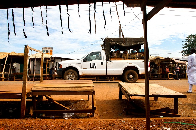 Peacekeepers patrol in Kaga-Bandoro Photo: Edouard Dropsy