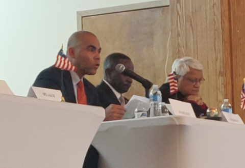 Michael Mueller (first from left), Vice Chairman of the Board of the European Federation of Liberian Associations and Co-Chairman the All Liberian Conference for Dual-Citizenship, speaks at the conference in Silverspring, Maryland, USA, on December 7 Photo: Front Page Africa